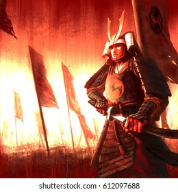 digital illustration of fantasy ancient warrior japanese samurai male man in battle war zone ground