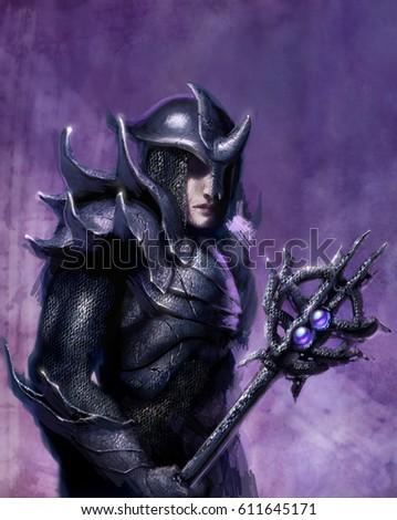 digital illustration fantasy battle sorcerer armorのイラスト素材