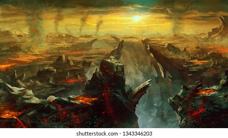 digital illustration of fantasy environment background in hell with larva