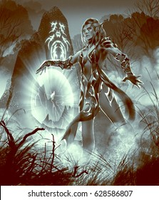 digital illustration of fantasy female woman girl elf wizard sorcerer character summoning a path way gateway at night in forest