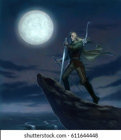 digital illustration of fantasy full figure male elf holding sword standing at cliff rock at full moon night