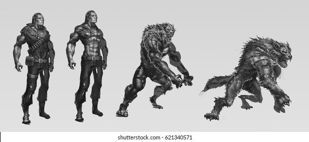 digital illustration of fantasy male man character werewolf transform stage from Indian native american