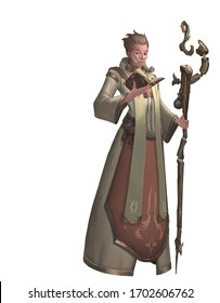 A digital illustration of fantasy old man priest character design with a medieval magic staff isolated in a white background.