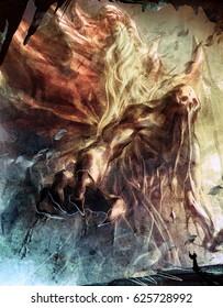 digital illustration of fantasy scene of warlock summoning huge monster creature
