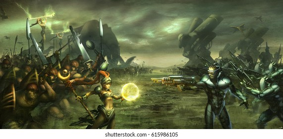 digital illustration of fantasy science fiction character in war battle against each other landscape environment