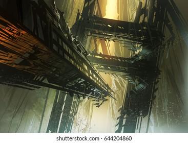 digital illustration of fantasy science fiction landscape