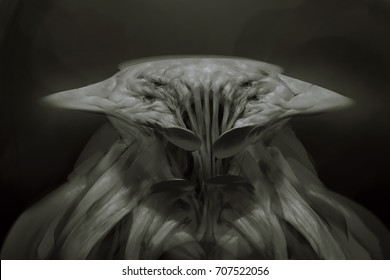 Digital illustration of fantasy stingray ray creature with multiple eyes portrait view