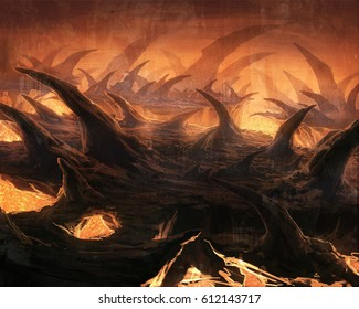 digital illustration of fantasy underground stalactites cave tunnel system with lava