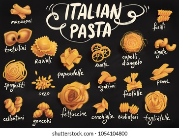 digital illustration featuring differet types of pasta of a blackboard