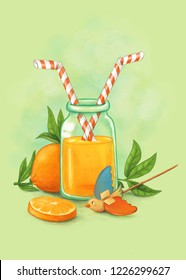 digital illustration featuring a traditional bottle of orange juice and a wooden bird toy