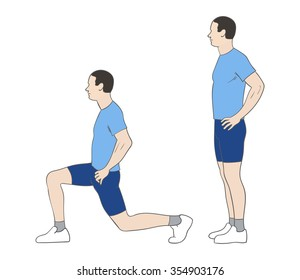 Digital illustration of a fittness man doing lunges
