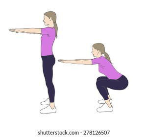 Digital illustration of a fittness woman doing squats