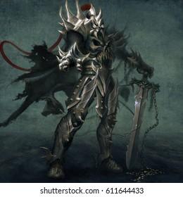 digital illustration of full figure fantasy dark knight in heavy armor