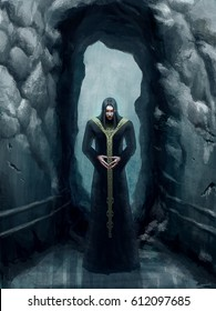 digital illustration of full figure fantasy priest vampire sorcerer mage male man standing