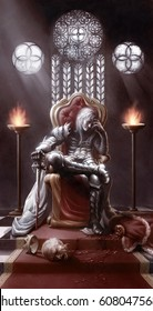 digital illustration of full figure realistic medieval fantasy knight warrior leader sitting on throne with old king slayed