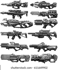 digital illustration of futuristic science fiction machine gun weapon concept design in set group in children kid style