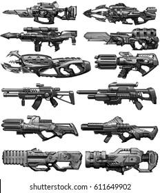 digital illustration of futuristic science fiction machine gun weapon concept design in set group in children kid style