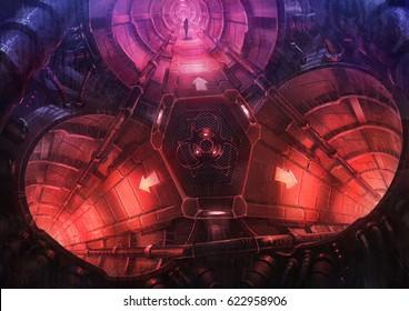 digital illustration of futuristic science fiction spacecraft corridor hallway
