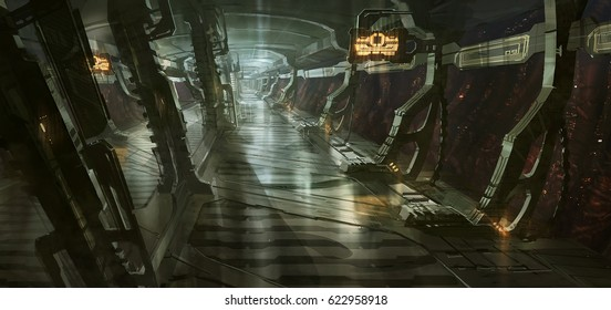 digital illustration of futuristic science fiction spacecraft corridor hallway