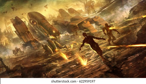 digital illustration of futuristic science fiction robot machine army killing terminating the escape human people