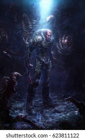 digital illustration of futuristic science fiction man male aggressive character in spacesuit armor surround by deadly alien creature