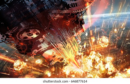 digital illustration of futuristic science fiction scene with huge spaceship spacecraft aiming firing attack to planet in space universe