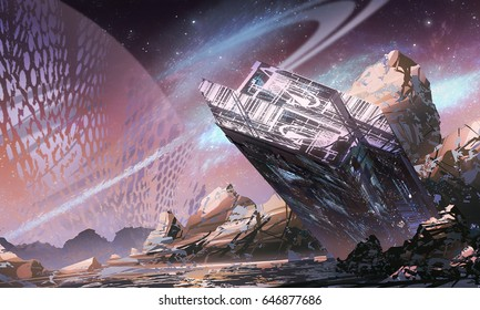 digital illustration of futuristic science fiction scene with spaceship spacecraft sunken on planet in space universe