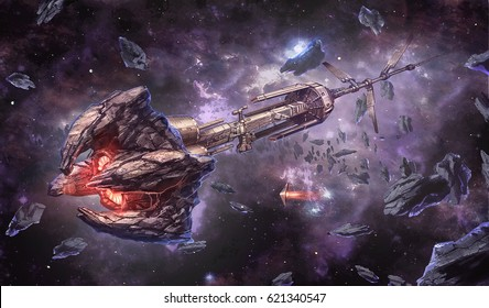 digital illustration of futuristic space station floating in space