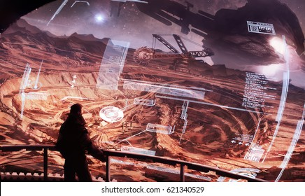 digital illustration of futuristic view of an observing showcase room look out to mining site with huge spaceship in background