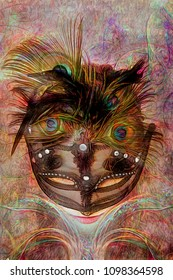 Digital illustration of a girl, wearing a beautiful colorful mask with feathers, looking downwards.