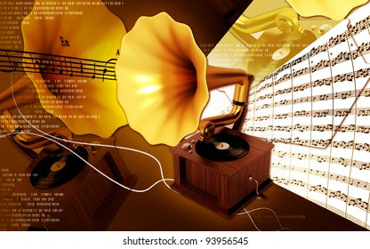 Digital illustration of Gramaphone in colour background