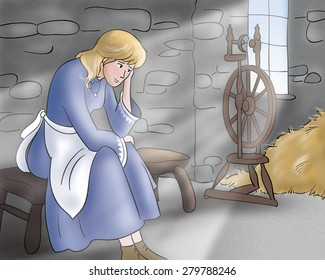 A digital illustration for Grimm's fairy tale Rumpelstiltskin. The beautiful princess is very sad. An european medieval scene.