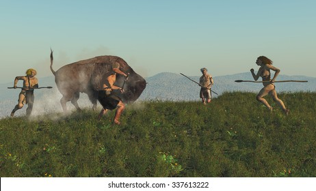 Digital illustration of a group of neandertals hunting a bison