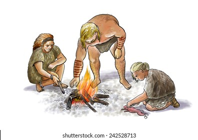 Digital illustration of a group of neanderthals with cooking fire