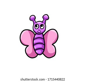 Digital illustration of a happy little purple butterfly
