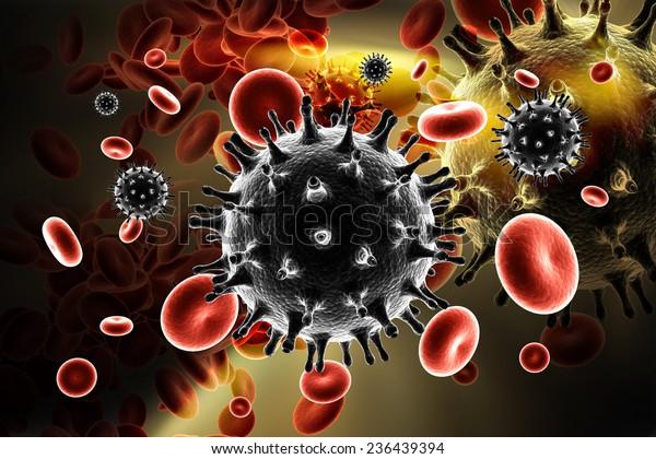 Digital illustration of HIV Virus in Blood Stream in color background