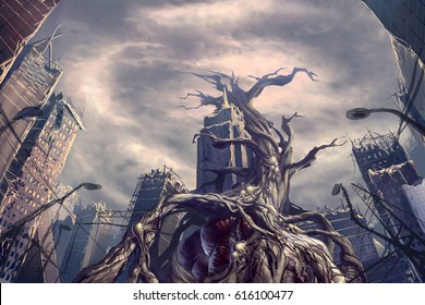 digital illustration of huge dying sick tree monster creature with blood vessel in destroyed abandoned city street view environment landscape