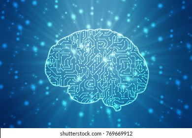 digital illustration of Human brain structure, Creative brain concept background, innovation background, brain on technology background represent artificial intelligence and cyber space concept