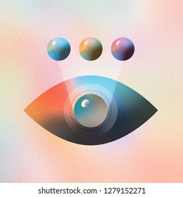 Digital illustration of human eye color modification and futuristic vision. Made with vector vibrant color gradient geometry form. Isolated on colorful textured background.
