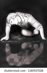 Digital illustration inspired by Caravaggio's Narcissus with a man looking at his water reflection
