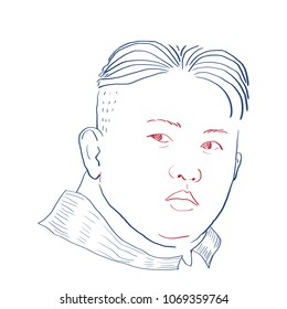 Digital Illustration of Kim Jug Un, Leader of North Korea