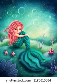 Digital illustration of a little mermaid