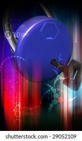Digital illustration of  a lock and key