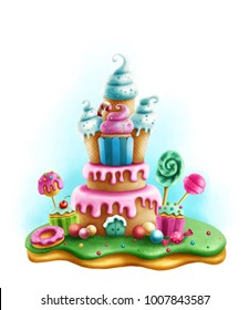 Digital illustration of magic sweets for tea party