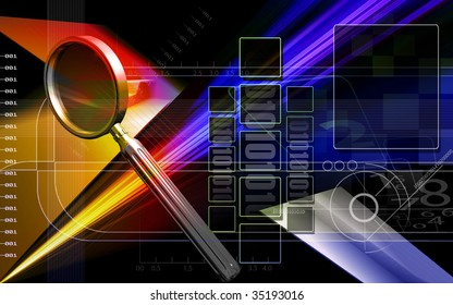 Digital illustration of  magnifying glass in colour background