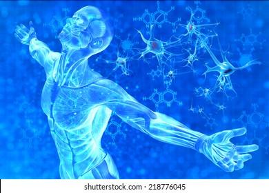Digital illustration of man and chemical formula DNA