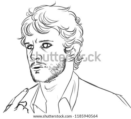 Digital Illustration Man Curly Hair Short Stock Illustration