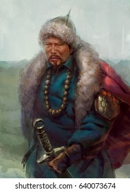 digital illustration of Mongolian king general warrior fighter fantasy
