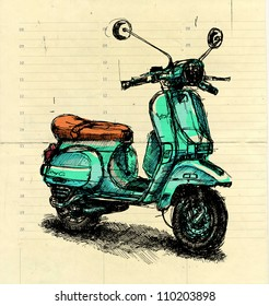 Digital illustration of an old-fashioned motor scooter on beige paper