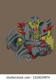Digital illustration of orc in armor